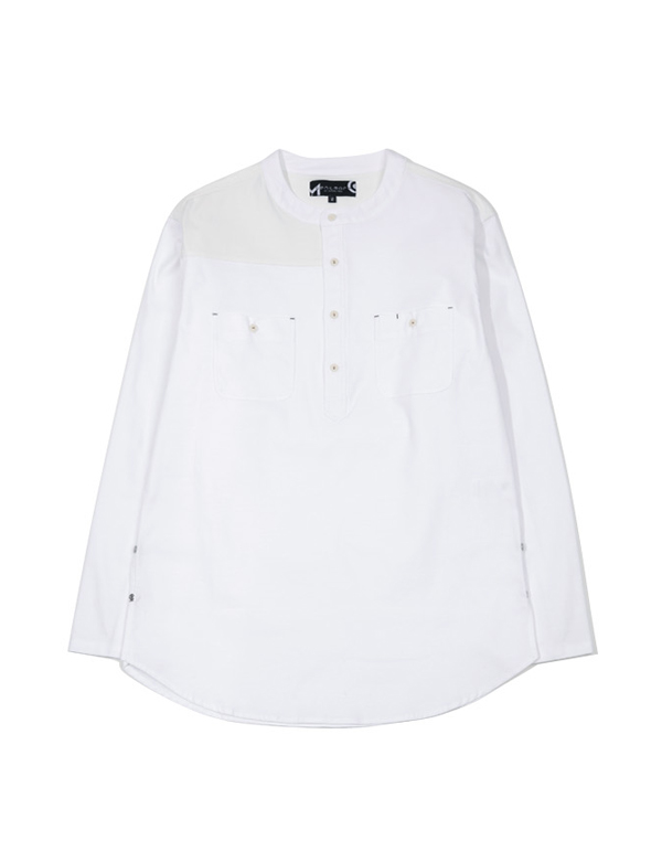 HENLEY PATCHWORK SHIRT_WHITE