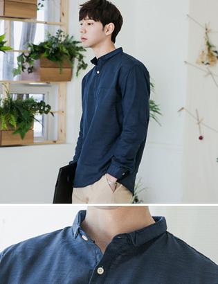 [BE1986]디테일 카라 헨리넥 셔츠( 3 color M/L/XL 사이즈 )