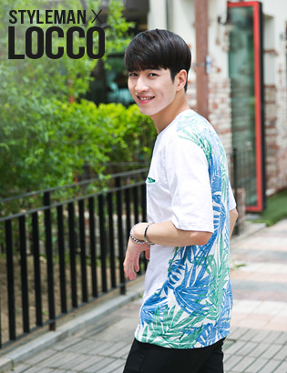 [AJ0155]Hawaii coloration1/2 T-shirt( 1 color M/L 사이즈 )[LOCCO]
